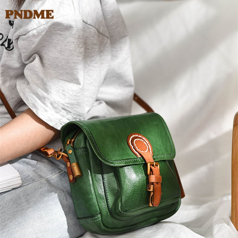 PNDME fashion luxury high-quality natural cowhide mini ladies small bag daily outdoor party Genuine Leather one-shoulder  bag