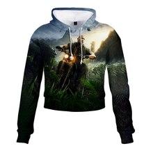 Jumanji Welcome to the Jungle Women Lovely crop top hoodies Serpent Print harajuku hot sale casual hoodies sweatshirts plussize