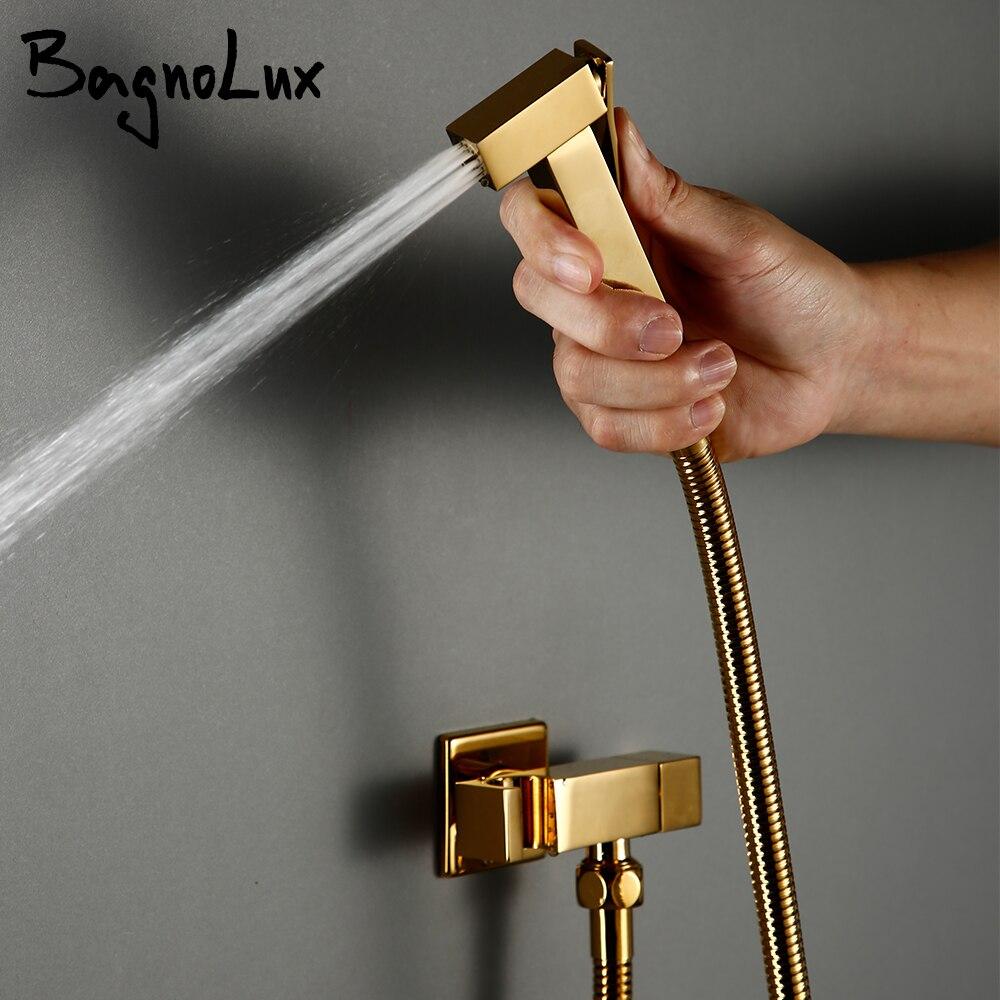 صنبور بيديت نحاسي مطلي بالذهب ، بخاخ حمام مثبت على الحائط ، وظيفة واحدة ، ماء بارد