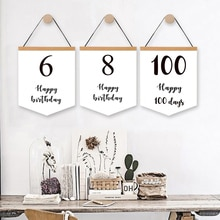 Cartel de lienzo personalizado con fecha de nacimiento, pintura de pared de 100 días, decoración de fiesta de cumpleaños, bandera para habitación de niños, cuadro infantil, decoración de pared