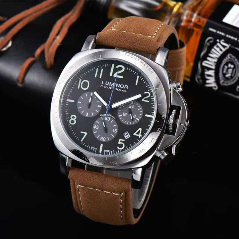 Luminor PAM00196 Men's Watches Top Brand Fashion Luminous Pointer Leather Strap Stainless Steel Quar
