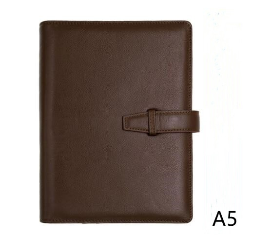 Genuine Leather A5 Planner with Sliver Rings Agenda 2021 Leather Journal Planner Notebook Multi-function Pocket Planner