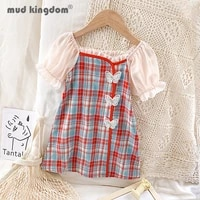 mudkingdom letter girls princess dress cheongsam butterfly chinese style plaid puff sleeve dresses for kids cute clothing