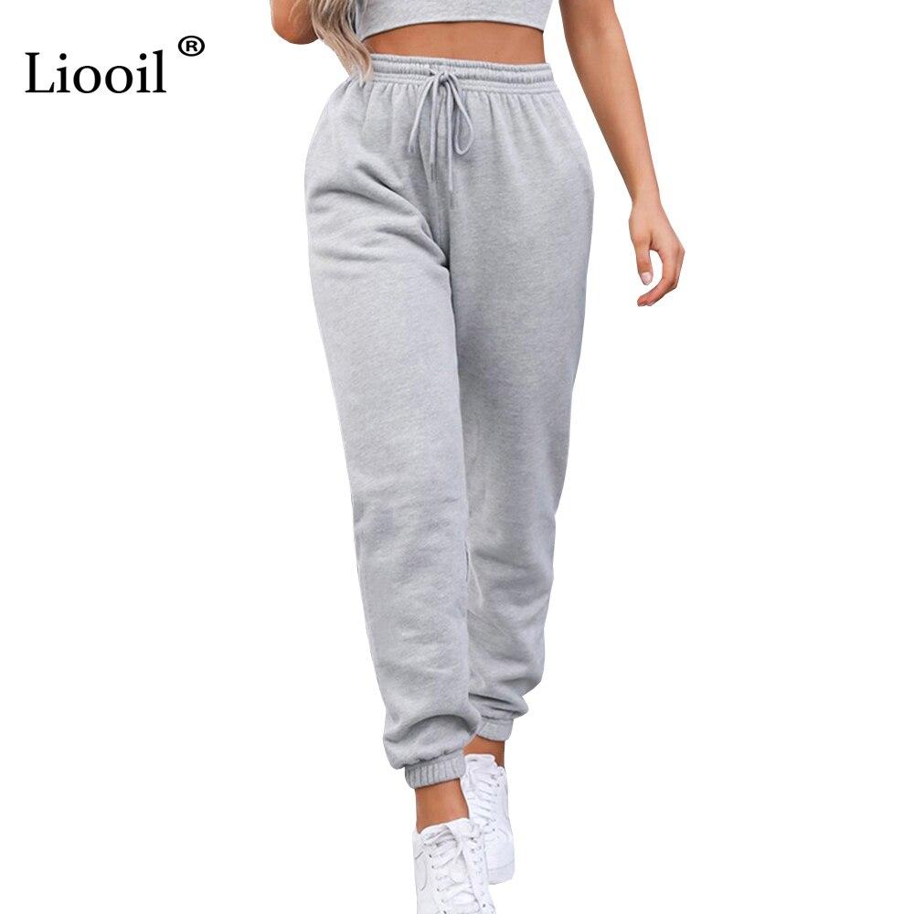 Сексуальные свободные брюки Liooil с высокой талией, модель сезона осень-зима 2021 года, черные и белые мешковатые джоггеры