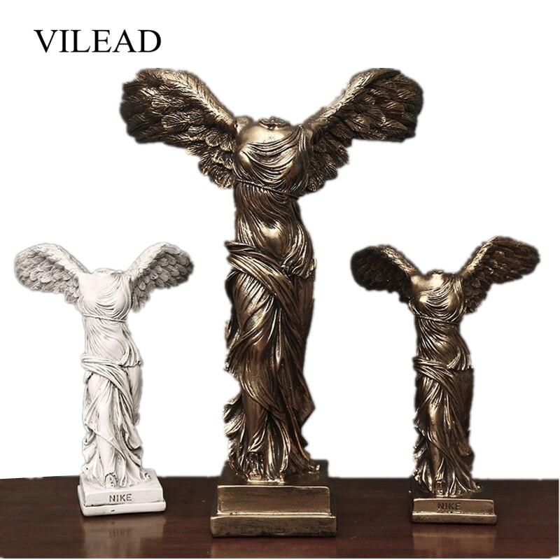 VILEAD 16cm 25cm 40cm Resin Victory Goddess Figurines Sculpture Craft Ornament Model Room Study Room Home Decoration Accessories