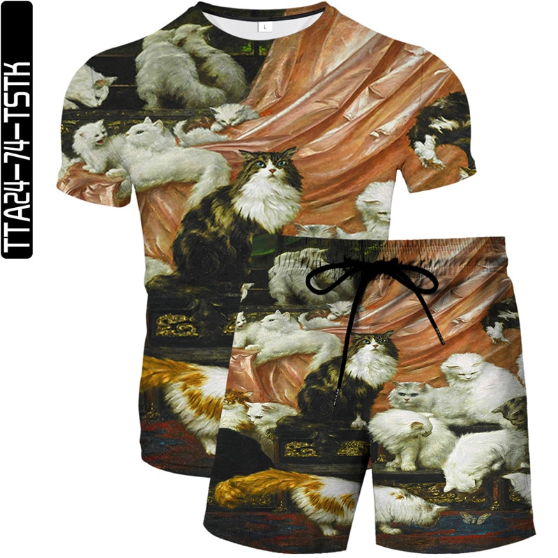 Character oil painting elements 3D printing shorts men's casual street wear beach shorts + 3D casual sports T-shirt set Ouma