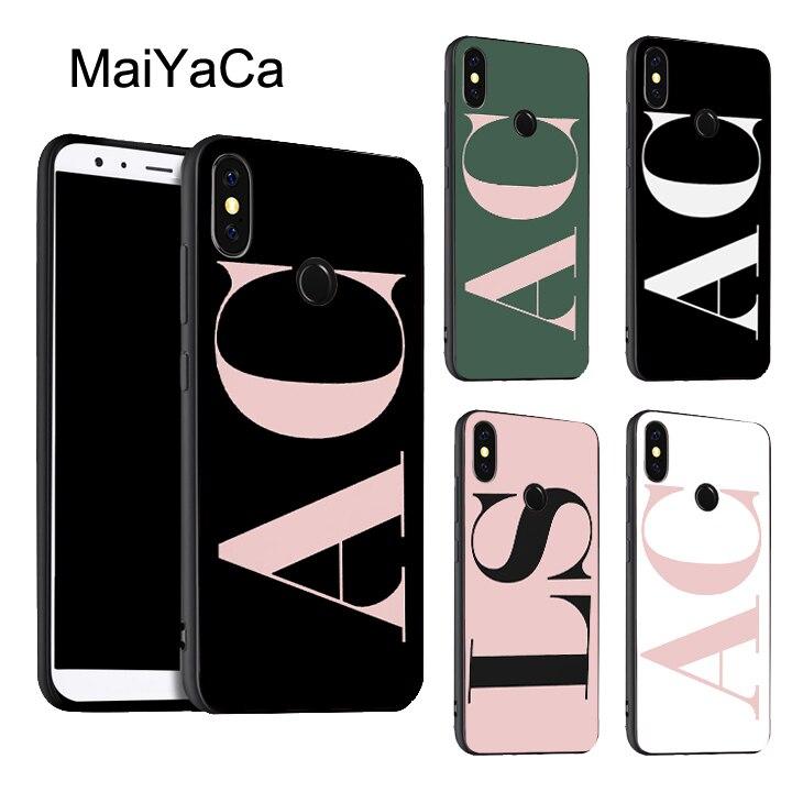 Capa de celular inicial rosa grande personalizada, capa para xiaomi redmi note 8 9 k30 pro 7 8t 9s 7a 8a mi 9t 9 10 lite a3 max3 mix3