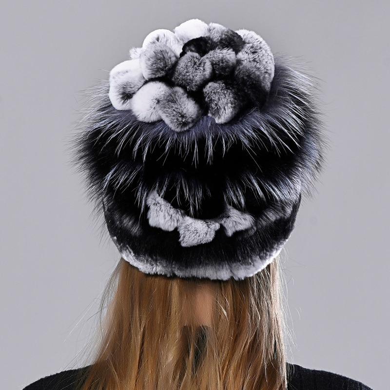 Natural Fur Hat Rabbit Fox Fluffy Fur Floral Beanie Hat Winter Women Warm Earflap Caps Hand Sewn Fem