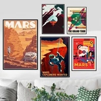 modern canvas painting hot space travel universal planet mars movie poster prints pictures wall art for living room home decor