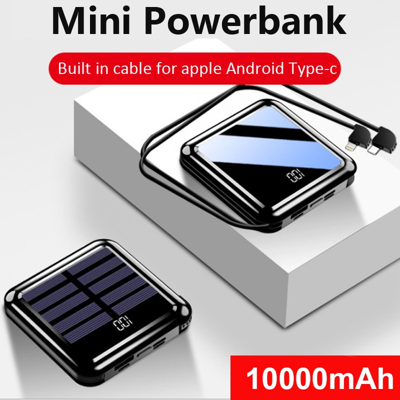 10000mAh Mini Solar Power Bank Portable Fast Charger Full Mirror LED Display Powerbank External Battery Pack Poverbank for Phone