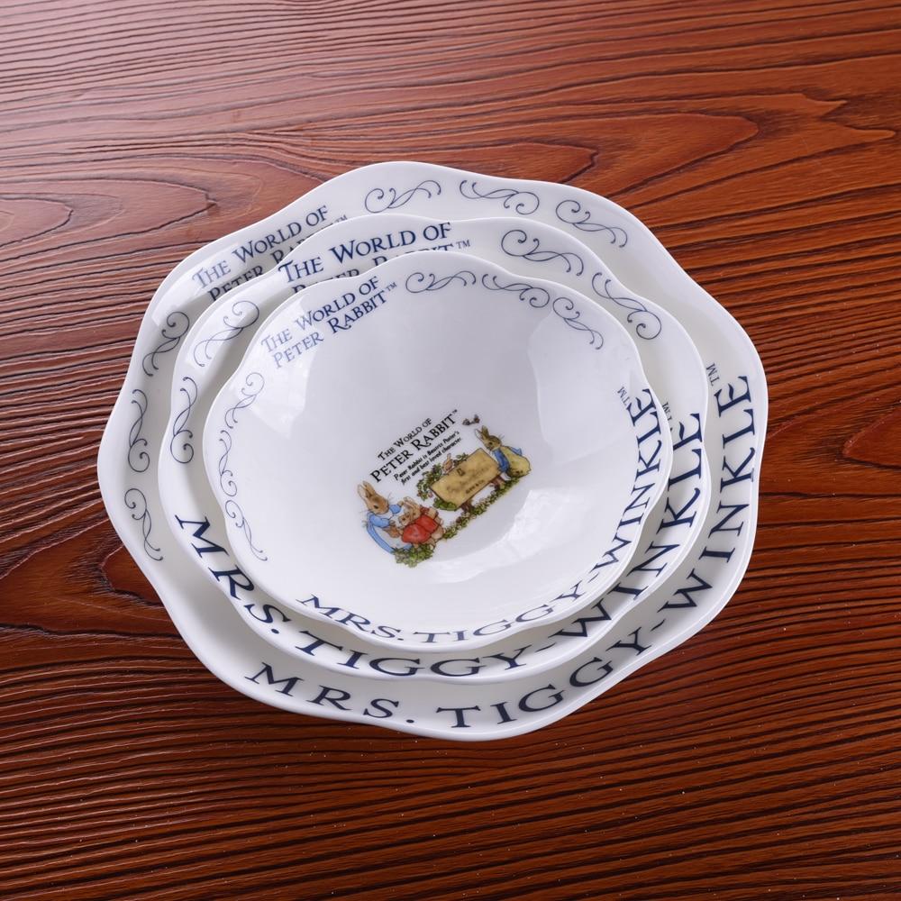 3 قطعة أرنب عشاء لوحات السيراميك الكرتون الطعام لوحة تخدم أطباق جولة لوحة كعكة صينية شريحة لحم صينية المطبخ لوحات أواني الطعام
