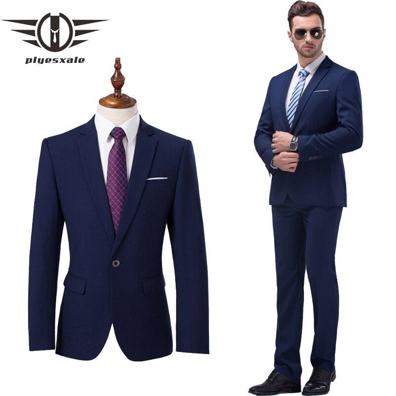Plyesxale الرجال الدعاوى 2021 أحدث معطف بانت تصاميم بدل زفاف للرجال ماركة الملابس بدلة سوداء ضيقة من الخصر الأزرق رجالي بدلة رسمية Q91