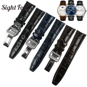 22mm Curved End Watch Band for IWC Mark Pilot Portuguese Leather Strap Seven Day Bracelet Men Belt Black Blue Coffee Strap Mens