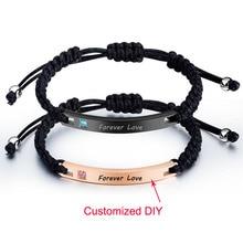 Women Men Bracelet Custom Engraving DIY Couple Bracelets Adjustable Hand-Made Braid Rope Bangles Personalized Valentines Day