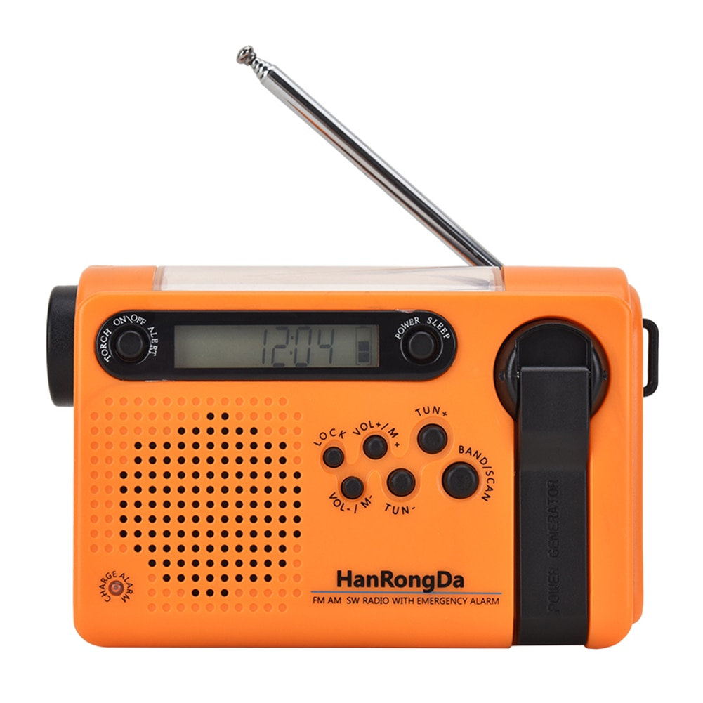 Multifunctional Hand Radio Solar Crank Dynamo Powered AM/FM/SW Weather Radio Use Emergency LED Flashlight 2000mAh Power Bank