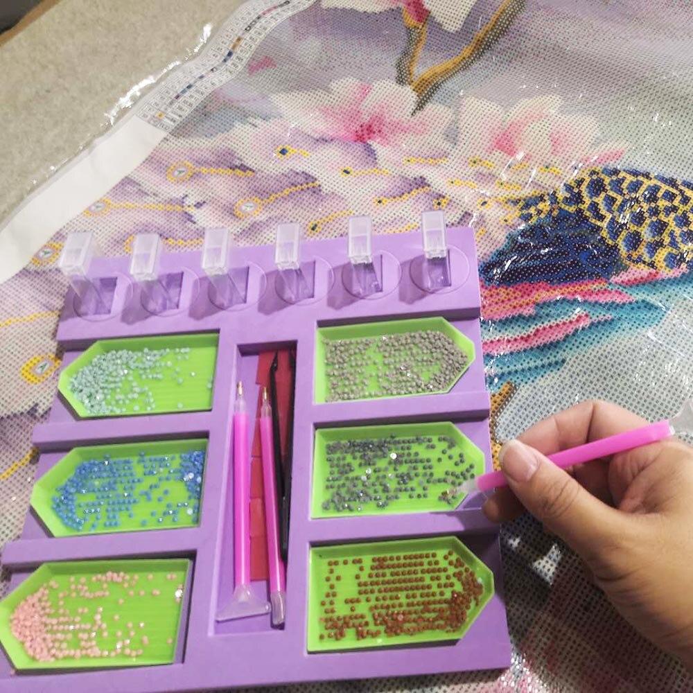 Pintura de diamante nueva placa 6 herramienta de punto de rejilla DIY manual estante de almacenamiento accesorios de punto de cruz bordado mosaico regalo de Navidad