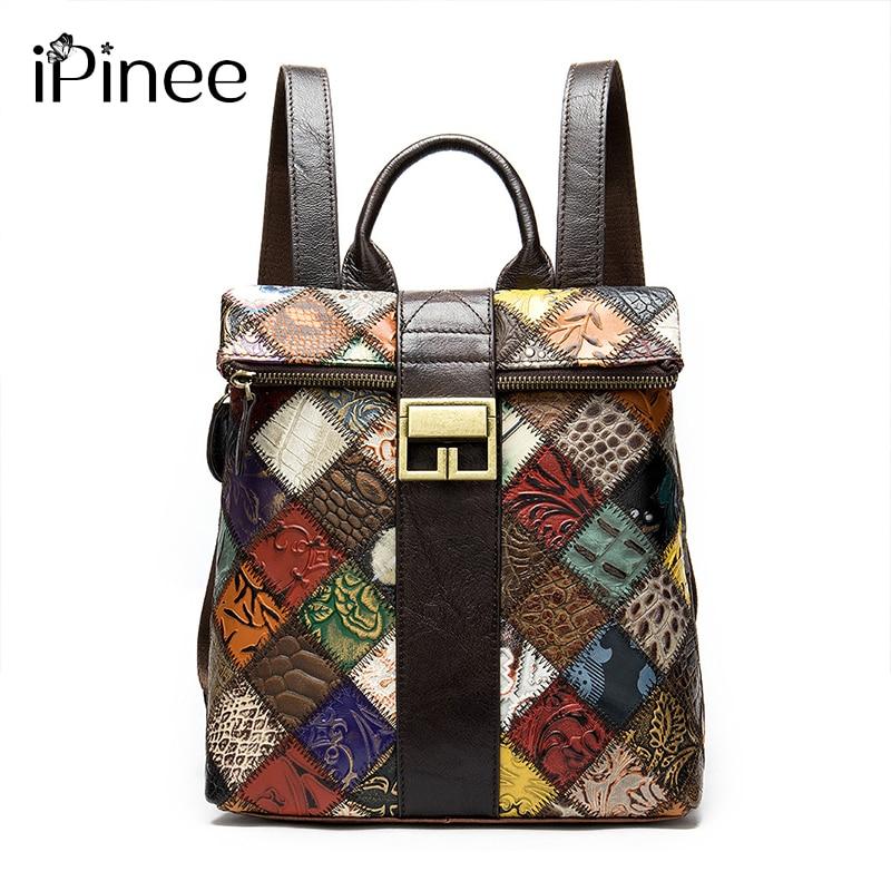 IPinee 2021 موضة المرأة على ظهره خمر جلد طبيعي الإناث حقائب السفر حقيبة كتف عادية للطلاب/في سن المراهقة