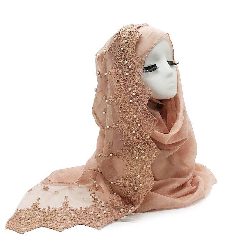 2019 mulheres simples pérola algodão rendas cachecol cabeça hijab envoltório sólido cover-up xales foulard femme bandana muçulmano hijabs loja
