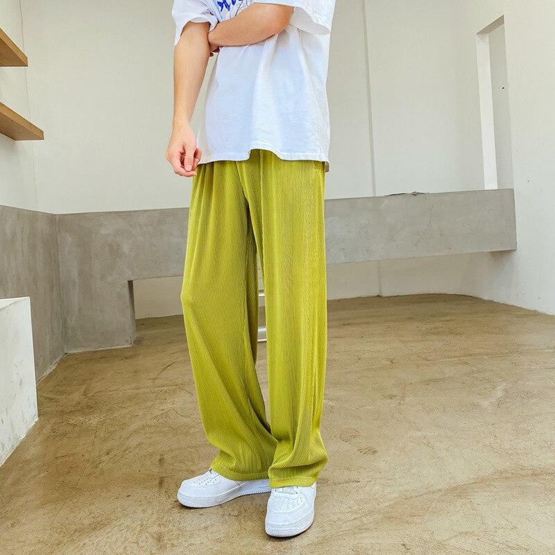 Брюки мужские тонкие из ледяного шелка, модные плиссированные штаны в Корейском стиле, черные, серые, зеленые, Свободные повседневные штаны