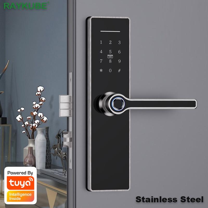 Review RAYKUBE Tuya Wifi Smart Door Lock Fingerprint Password 13.56mhz Card Keyless Unlock Front Handle 304 Stainless Steel X6