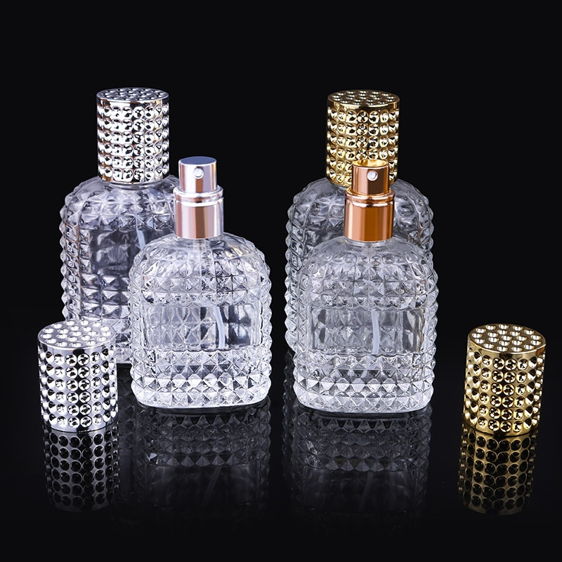 mub 10pieces lot 2ml portable glass perfume bottle with plastic spray empty clear parfum atomizer with 10 colors sprayer 30ml 50ml Personality Transparent Glass Sprayer Pump Empty Perfume Bottle Portable Travel Parfum Atomizer Case