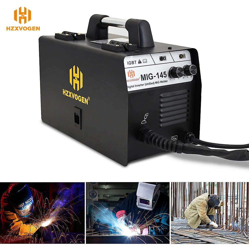 220V HZXVOGEN Mig Welder MIG145 No Gas Gasless Semi-automatic Welding Machine Fit 0.6/0.8mm Flux Core For Iron Soldering enlarge