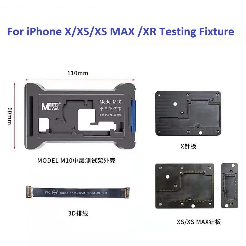 MaAnt M10 آيفون X XS XSMAX XR 4 في 1 اللوحة الأم وظيفة اختبار تركيبات العلوي السفلي الأوسط الإطار تستر
