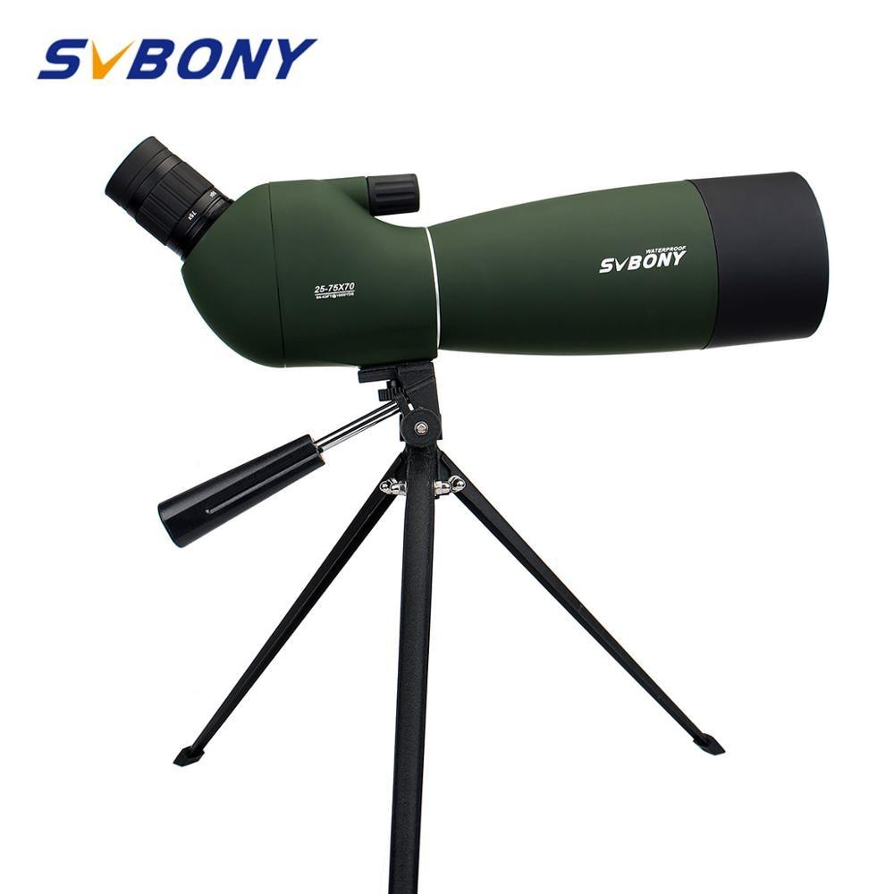 SVBONY 25-75x70mm الإكتشاف نطاق SV28 تلسكوب التكبير المستمر BK7 المنشور MC عدسة مقاوم للماء الصيد أحادي + ترايبود F9308B للصيد ، وإطلاق النار ، والرماية ، مر...