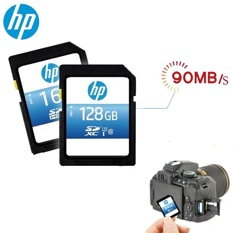 HP tarjeta SD para cámara 128GB 64GB 90 MB/S tarjetas de memoria SDHC/SDXC UHS-I HD Video carta Sd para cámaras DSLR