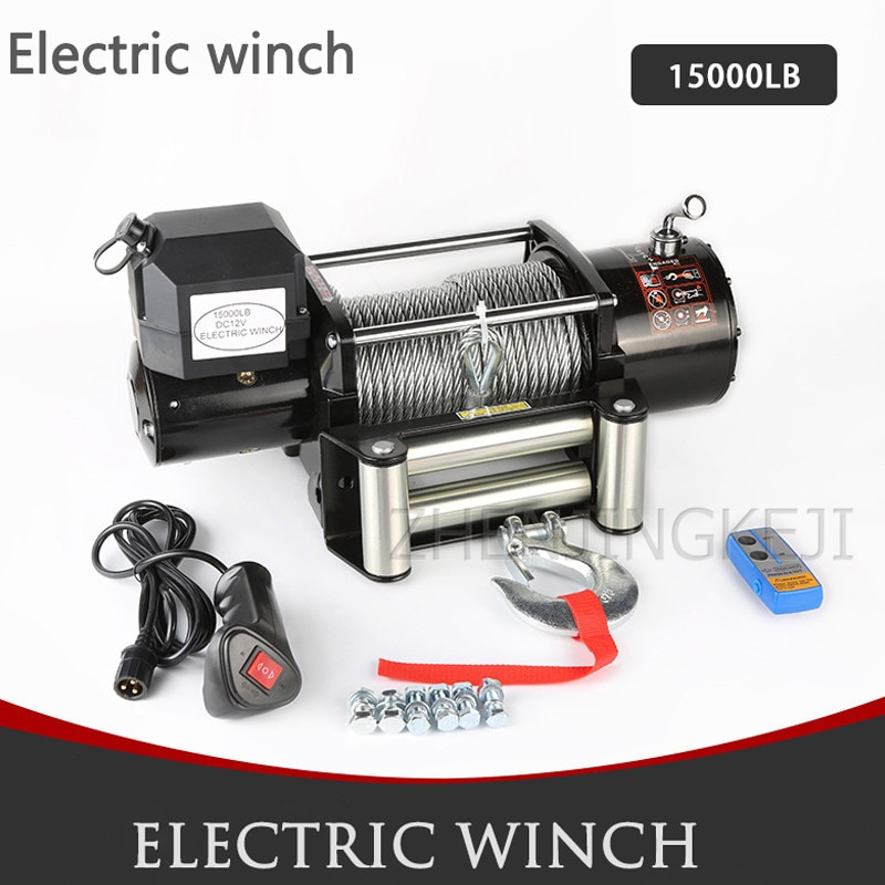 High Power Electric Winch 15000 LB Off-road Vehicle-mounted 4.8KW Vehicle Winch Crane Mud Marsh Anchor Rescue Beach Hauling Tool