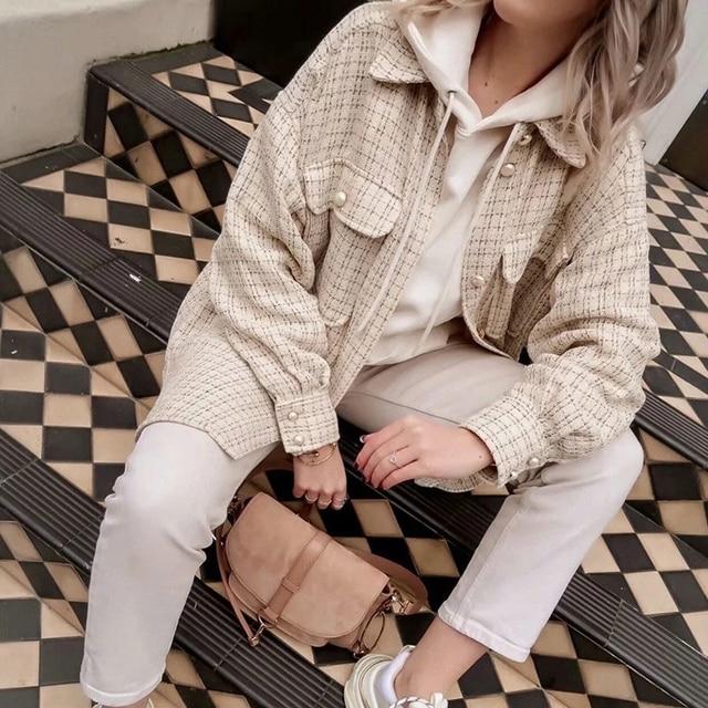 ZXQJ Tweed Women Vintage Oversize Plaid Shirts 2021 Spring-Autumn Chic Ladies Streetwear Loose Shirt Elegant Female Outfit Girls 2