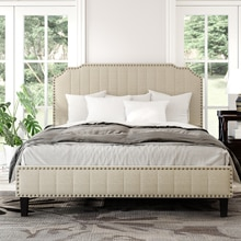 TWIN/FULL /KING/QUEEN Size Modern Linen Curved Upholstered Platform Bed  Solid Wood Frame Nailhead Trim
