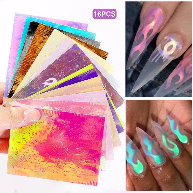 Голографическая самоклеющаяся пленка fire Aurora Flame, 16 листов/набор, самоклеющаяся клейкая пленка для самостоятельного декора ногтей