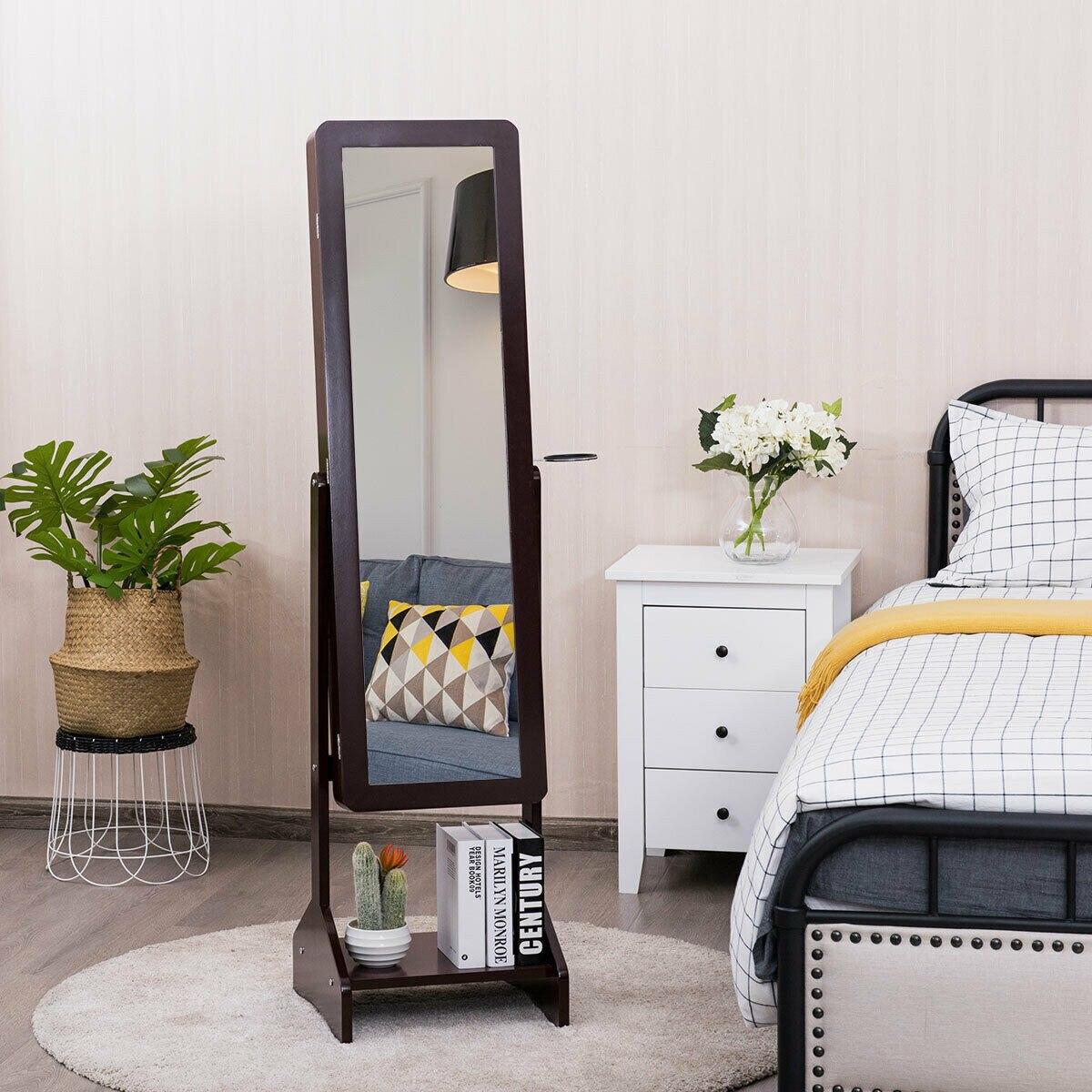 Alta qualidade superior e resistente móveis em pé gabinete de jóias com espelho de comprimento total organização de armazenamento em casa hw63124cf