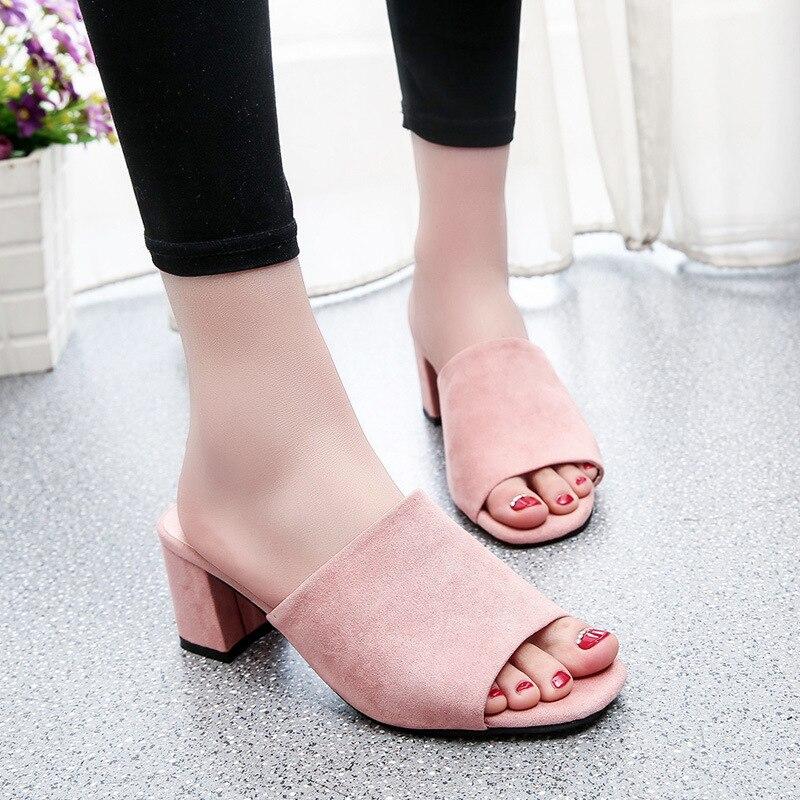 Heel Slippers Womens Summer Outdoor Beach Slippers Ladies Faux Suede Wood Clogs Open Toe Sandals Mid Block Heel Mules