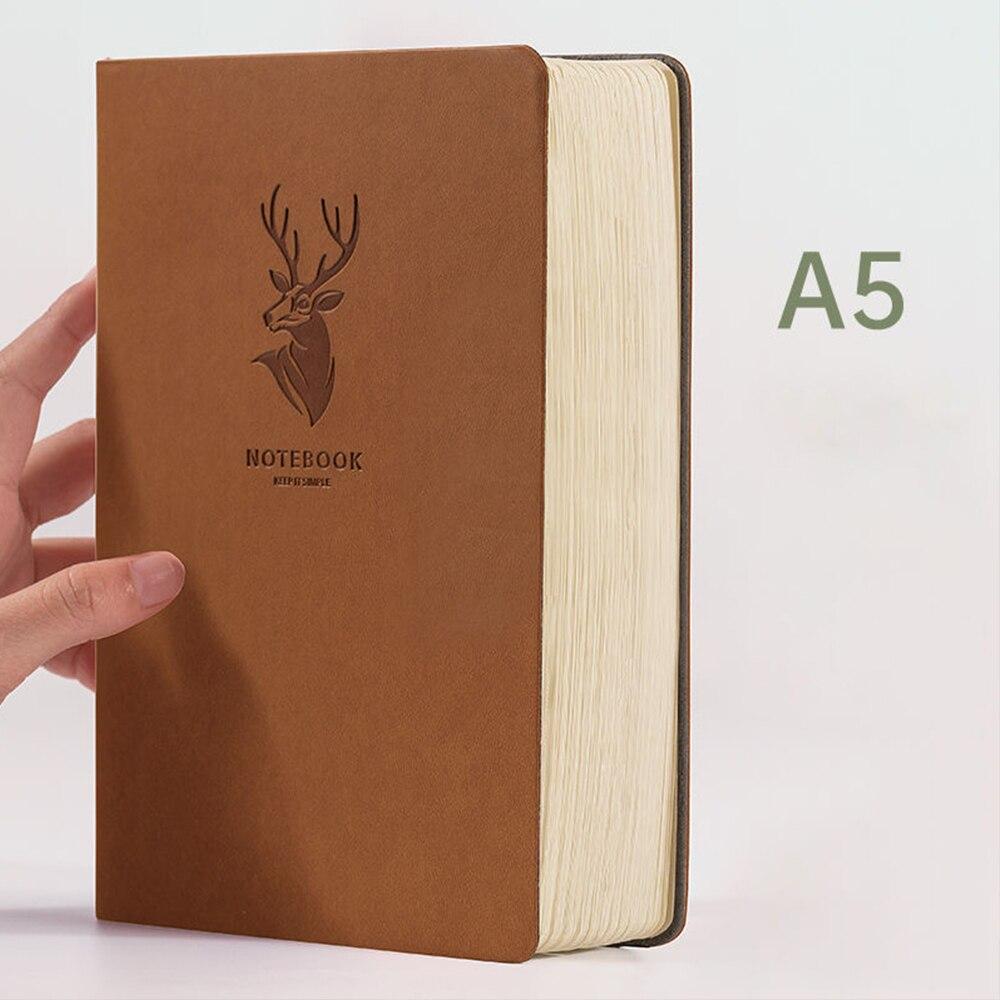 Супертолстый блокнот с оленем из кожи, 416 страниц, Ежедневник A5, блокнот для бизнеса, офиса, ежедневный блокнот для работы, 1-2 года, подарочное...