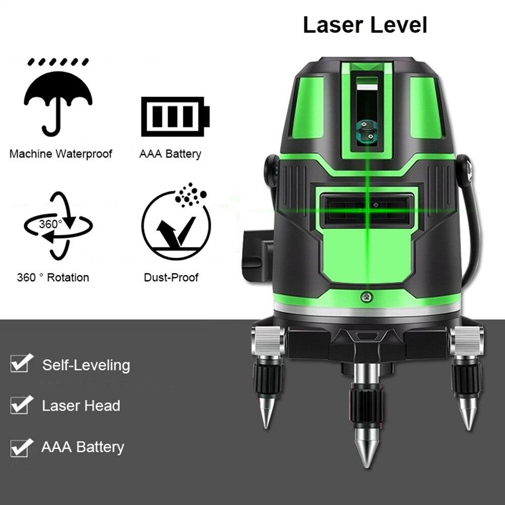 Nivel láser, autonivelante, Cruz Vertical Horizontal 360, Radio verde súper potente, líneas de haz de láser directa alternante para exteriores