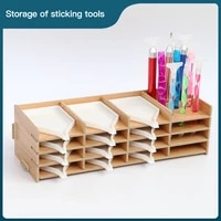 diy diamond painting multi layer wooden rack tool storage tray drilling pen organizer diamond embroidery accessorie 9 16 grid