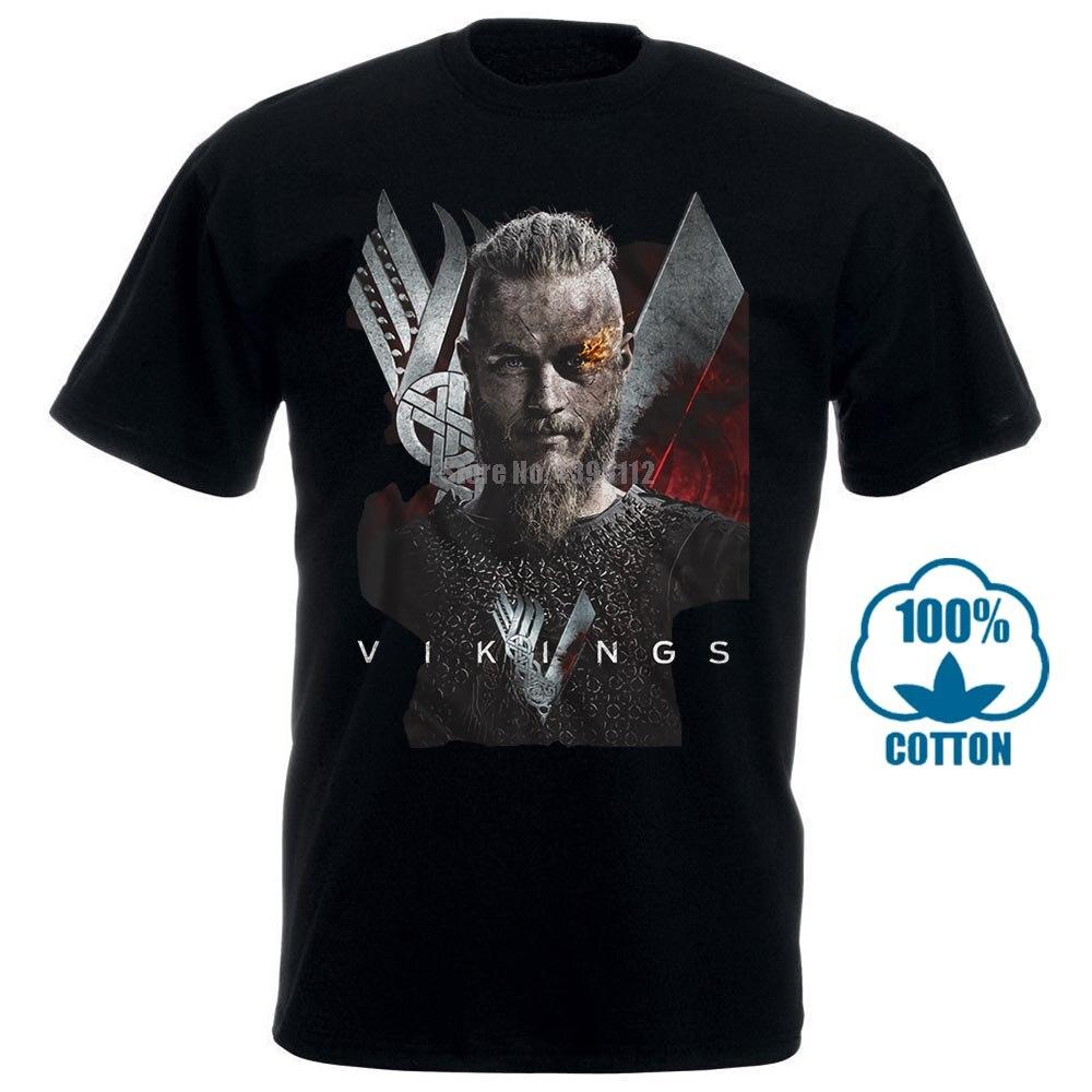 Официальная футболка Vikings Мужская, Ragnar Lothbrok, ТВ-показ, черная, Sm 4Xl