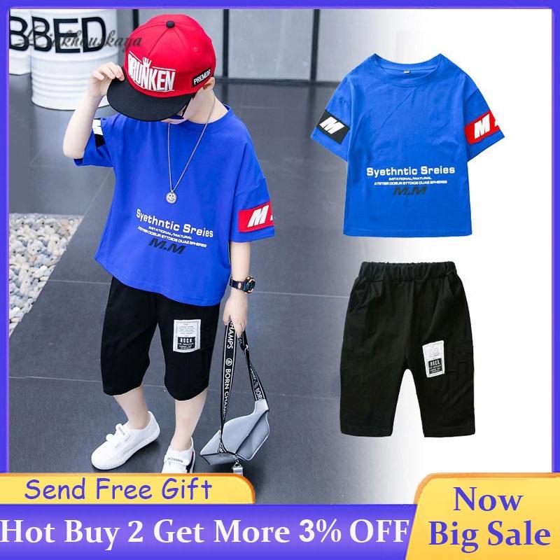 2020 New Boys Clothing Set Fashion Letter Print T-Shirt + Cotton Shorts  2 PCS Set Boys Clothes Summer Toddler Baby Sportswear