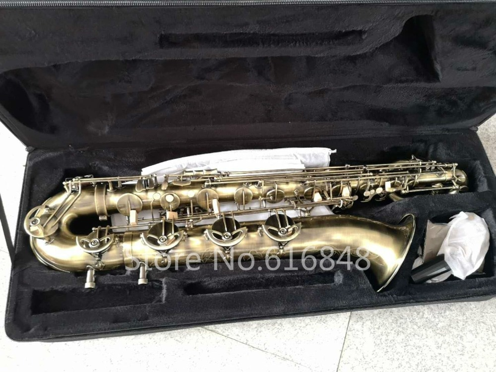 MARGEWATE haute qualité baryton Saxophone en laiton Tube Unique Antique cuivre Surface peut être personnalisé Logo saxo livraison gratuite