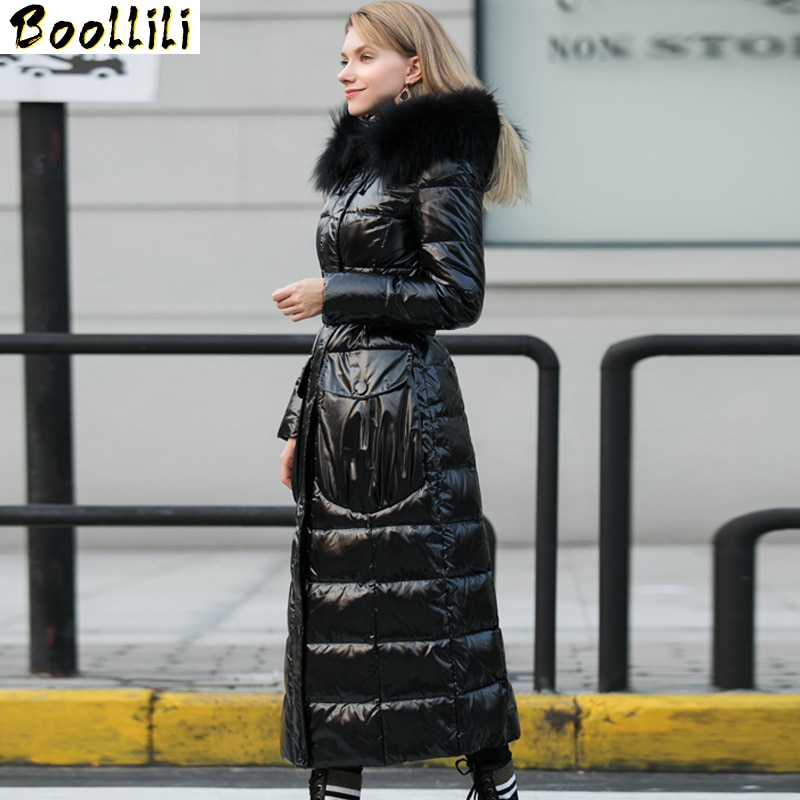 Boollili-معطف شتوي نسائي 2020 ، معطف طويل ، ياقة فرو راكون كبيرة ، معطف دافئ من ريش البط الأبيض ، معطف نحيف وعالي الجودة ، 90%