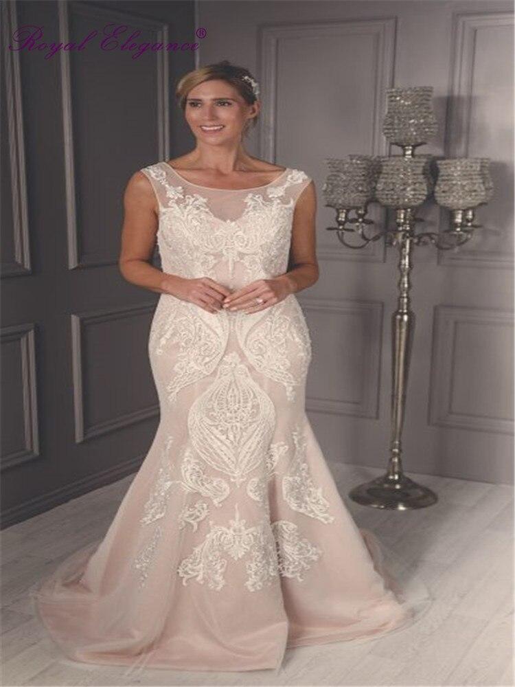 Royal Elegance de talla grande Mermaid nupcial Wear Scoop ilusión escote Alta Costura vestidos de novia
