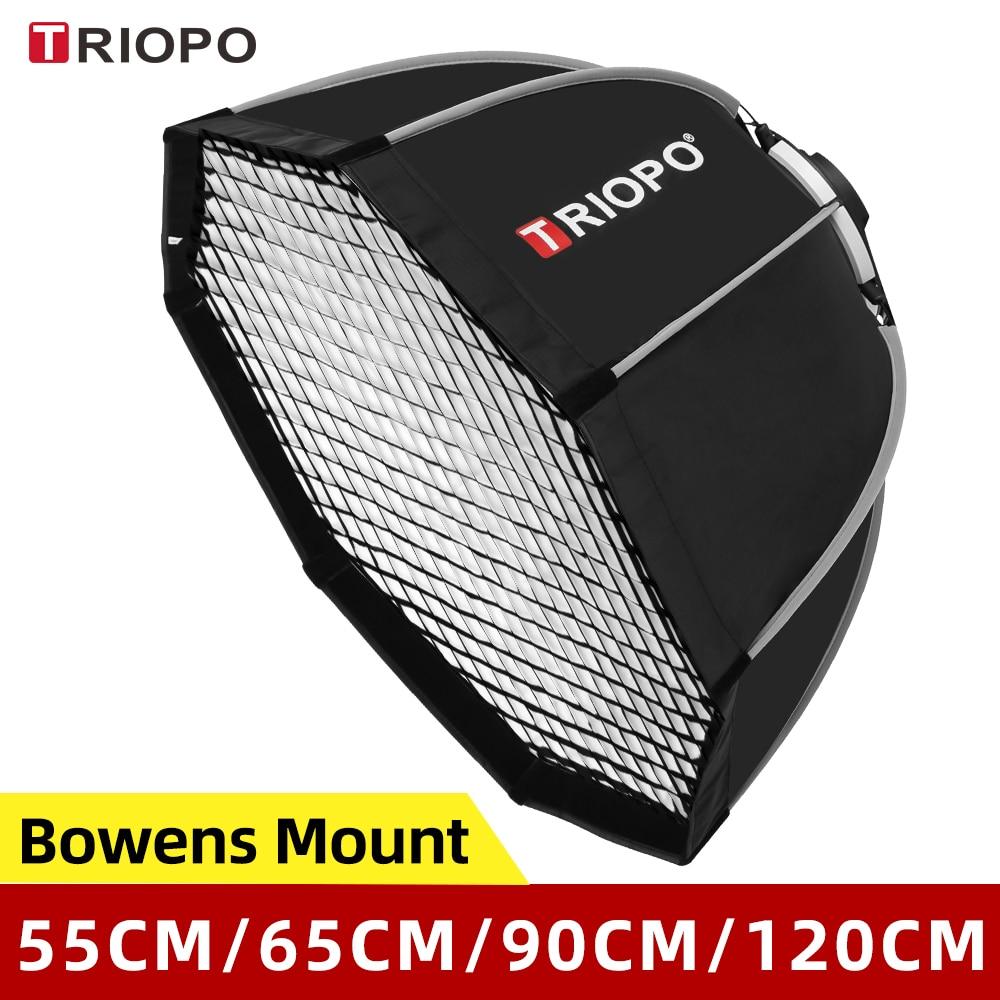 Triopo 55cm 65cm 90cm 120cm Photo Portabe Bowens Mount Octagon Umbrella Softbox + Honeycomb Grid Outdoor Soft Box for Flash