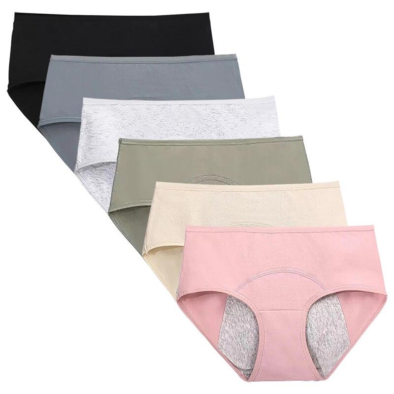 6Pcs/Lot Menstrual Period Panties Women Cotton Leak Proof Briefs Lingerie Ma'am Sexy Comfortable Physiological Underwear