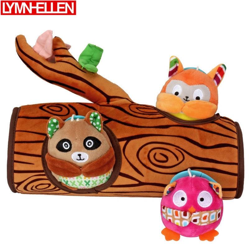 Juguete de felpa para bebé, juguete bonito con forma de búho, bebé, mapache, ardilla pequeña, juguete, muñeco Peekaboo, regalo de aprendizaje temprano para niños