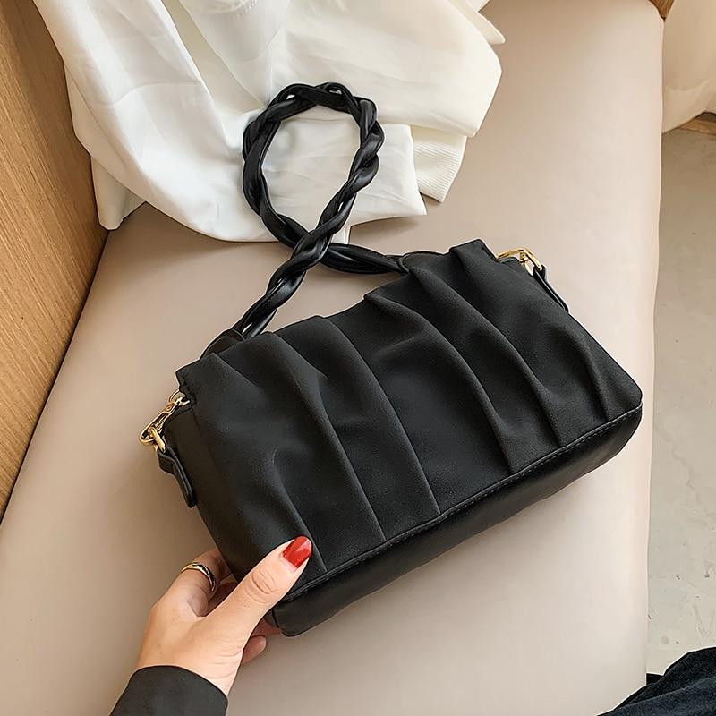 с доставкой Scrub Leather Folds Designer Crossbody Bag 2020 Winter Branded Shoulder Handbags Female Solid Color Tend Hand Bag