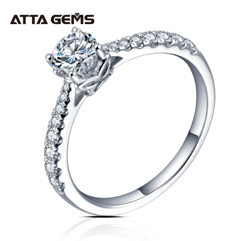 ATTAGEMS 0.5ct 5.0 مللي متر D اللون الجولة الروديوم تصفيح 925 الفضة مويسانيتي خاتم الماس اختبار مرت مجوهرات امرأة صديقة هدية