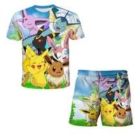 baby boys girls latest pok%c3%a9mon series summer t shirt short clothing set pokemon kids tracksuit children sports suit kids clothe