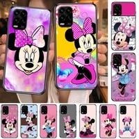 pink disney mouse minnie cartoon phone case for xiaomi redmi note 10 9s 8 7 6 5 a pro t y1 anime black cover silicone back pre